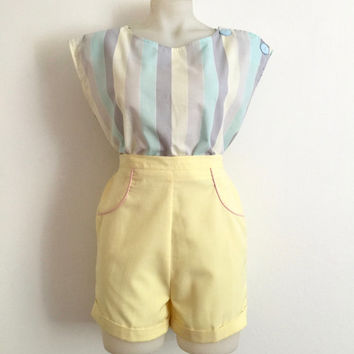 Vintage 1980s sorbet striped cropped sleeveless top with shoulder button detail / Size 14