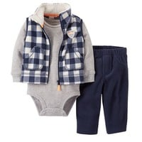 Carter's Plaid Microfleece Vest Set - Baby
