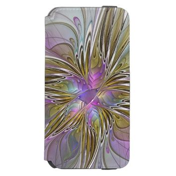 Floral abstract and colorful Fractal Art iPhone 6/6s Wallet Case