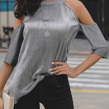 Black Patchwork Cut Out Sequin Elbow Sleeve Fashion T-Shirt