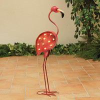 Retro Pink Flamingo Lawn and Patio LED Light with Timer