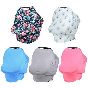 Baby Stroller Car Seat Cover Accessories Canopy Nursing Cover Stretchy Scarf Breastfeeding Shopping Cart High Chair Cover