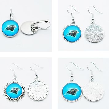 10Pairs Time Gems Charm Jewelry Drop Earrings Sport Team Football Carolina Panthers For Fans Fashion Earrings