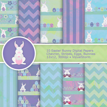 Easter Bunny Digital Paper Pack - Scenic Easter Egg Hunt, pastel blue, purple and green, printable chevron & stripe papers, Buy 2 Get 1 Free