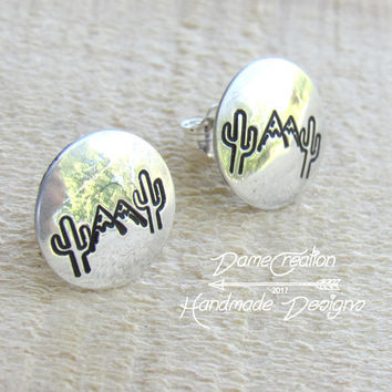 Mountain Stud Earrings, Stud Earrings, Sterling Silver, Silver Stud Earrings, Nature Jewelry, Mountain Jewelry, Cactus Earrings, CactusGirl