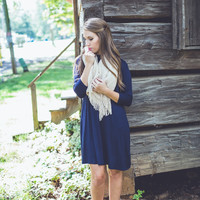 Must-Have Mock Neck Dress in Navy