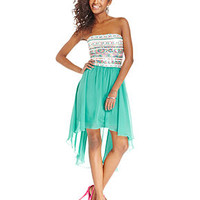 As U Wish Juniors' Strapless Sequin High-Low Dress