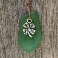 Irish Clover Green Sea Glass Necklace  by Wave of Life