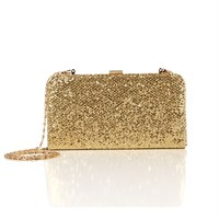 SALE-Gold Glitter Box Clutch