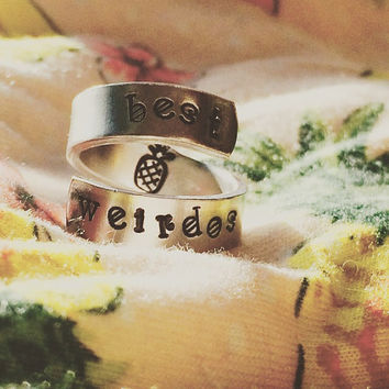 best weirdos pineapple spiral hand stamped ring