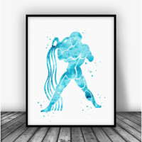 Aquarius Sign Art Print Poster