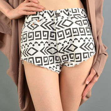 Aztec High Waist Shorts