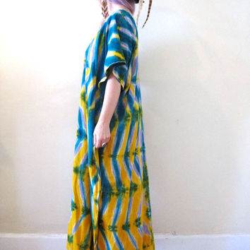 vintage 70s watercolor tie dyed caftan midi maxi dress / embroidered ethnic tribal hippie boho festival gypsy