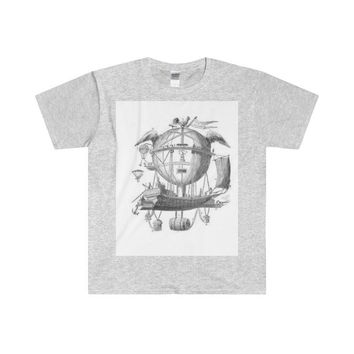 Softstyle® Adult T-Shirt with Hot Air Balloon Flying Airship Art Print