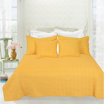 Tache Geometric 3-5 PC Matelasse Bright Yellow Brick Bedspread Coverlet Quilt Set King