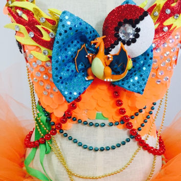 Charizard Pokemon costume with a hig-low tutu / rave wear / EDC outfit / Halloween / anime / cosplay