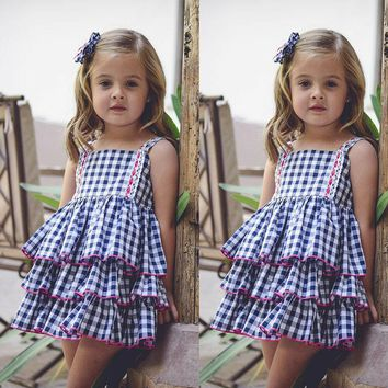 US Princess Newborn Baby Girl Dress Ruffle Backless Plaid Tutu Dresses Sundress