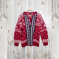 Vintage Reindeer Nordic Zipped Cardigan Sweater