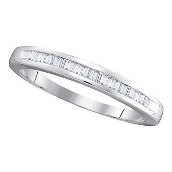 10kt White Gold Women's Baguette Diamond Wedding Anniversary Band 1/4 Cttw - FREE Shipping (US/CAN)