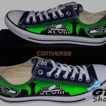 DCKL9 Hand Painted Converse Low Sneakers. Seattle Seahawks. Hawks. Football. Superbowl.12th