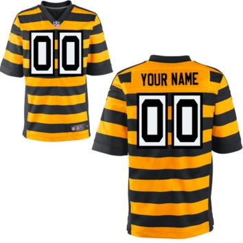 KUYOU Pittsburgh Steelers Jersey - Men's Yellow Throwback Custom Elite Jersey