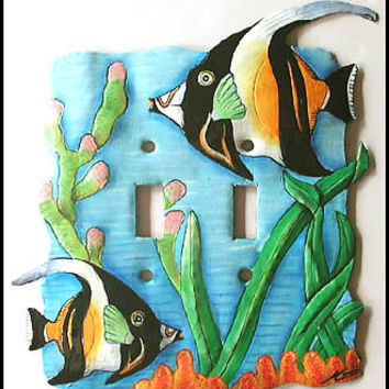 Light Switch Cover - Tropical Fish Design Switch Plates, Hand painted metal light switchplate cover, Switch-Plate - S-1015-2