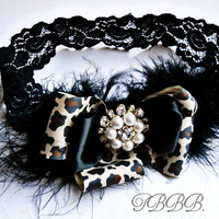 Baby Girl Leopard and black double bow headband, ,Baby Headbands.Girl Headbands.
