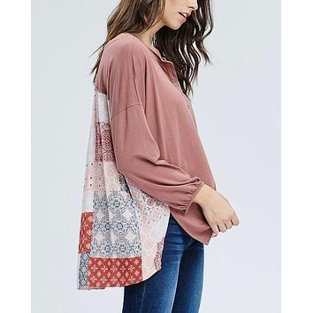 henley knit top with contrast printed back - mauve