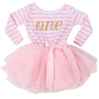 First, Second, Third Birthday Pink and Gold One Striped Tutu Dress - Long Sleeves