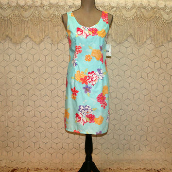 Light Blue Floral Summer Dress Cotton Sundress Petite Midi Womens Colorful Sleeveless Dress Small Size 6 Dress Liz Claiborne Womens Clothing