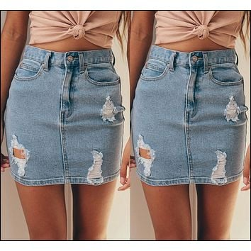 New Fashion Women's Stretch Denim Mini Skirt Pencil Hole Solid Summer Casual Ladies Skirts Jeans Sexy Clothing