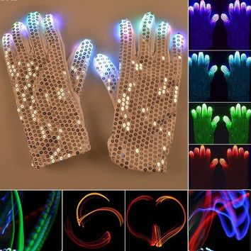 DCCKH6B 1 Pair Flashing Fingertip Light 7 Mode LED Gloves Mittens Costumes Rave Skating Riding Party Supplies Luminous Cool Gloves #15