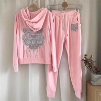 kenzo women fashion print hoodie top sweater pants sweatpants set two piece sportswear