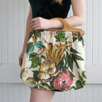 Vintage Tropical Floral Purse with Wooden Handle