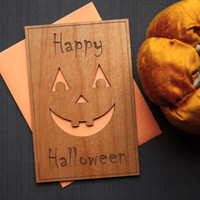 Halloween Greeting Card - Halloween Wood Card - Pumpkin Face