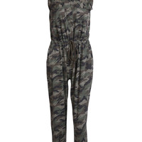 Camouflage Printed V-Neck Sleeveless Jumpsuit