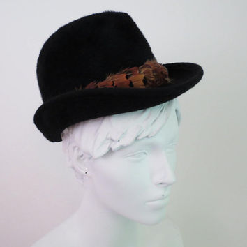 Vintage Black Fedora fuzzy and compact with band of feathers by Gwenn Pennington 1940s West Germany