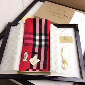 NOV9O2 Burberry Keep Warm Scarf Embroidery Scarves Winter Wool Shawl Lattice Style 2