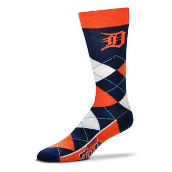 PEAPON MLB Detroit Tigers Argyle Line Up Crew Socks