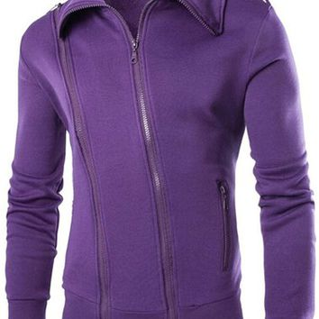 jeansian Men's Casual Zipper SweatShirt Jacket Coat 9361