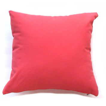"Coral Throw Pillow Cover. Pillow Cover- Coral Solid Pillow- Coral Accent Pillow - 16x 16 "" or 17 x 17"" or 18 x 18 Pillow Cover"