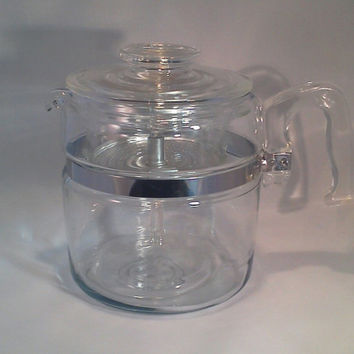 Coffee Percolator, Pyrex Coffee Percolator 7758, 6 cup, Flameware, Complete