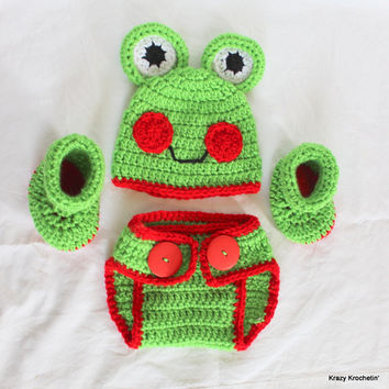 Crochet Infant Green/Red Frog Set - Hat, Diaper Cover, Booties - Size 0-3 Months