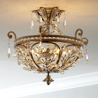 Crystal Leaf Semi-Flush-Mount Ceiling Fixture - Horchow