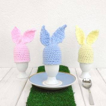 Hand Crochet Pastel Bunny Rabbit Egg Cup And Cosy