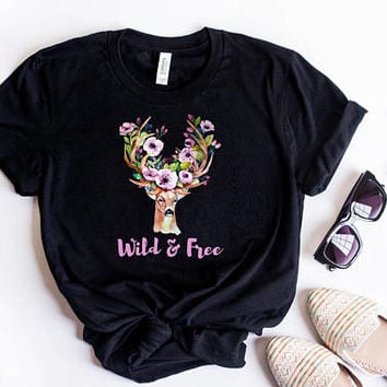Wild And Free Watercolor Elk Shirt/ Floral Deer Shirt/ Elk Art Flower Shirt/ Deer Head Shirt Reindeer Shirt/ Girls Floral Shirt Boho T Shirt