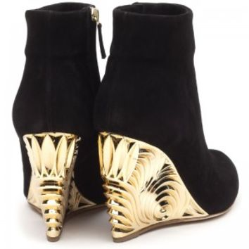 Rupert Sanderson | Salome in Black Suede and Gold | High Heel Wedge Ankle Boots