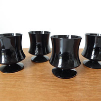 Seneca Glass black low water goblets, Fashionables pattern