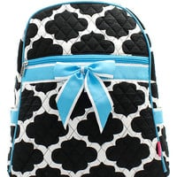 Personalized Black and Aqua Geometric Backpack Bookbag Dance Bag Swim Bag Aqua Zig Zag Christmas Birthday