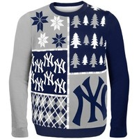 New York Yankees Busy Block Ugly Sweater – Navy Blue